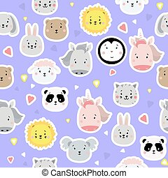 Seamless patterns. Kids collection. Cute animal stickers - lion and penguin, unicorn and rabbit, hare and sheep, cat and horse, koala and panda on a blue background with hearts. Vector