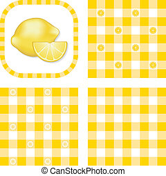 Seamless Patterns, Lemons, Gingham