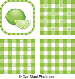 Seamless Patterns, Limes, Gingham - Limes in frame, gingham ...