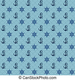 Seamless patterns, navy anchors and steering wheel, vector...
