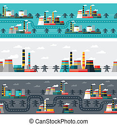 Seamless patterns of industrial power plants in flat style.
