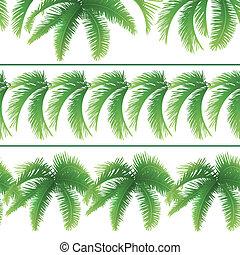 Seamless patterns, palm leaves - Set seamless patterns,...