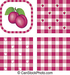 Seamless Patterns, Plums, Gingham - Plums in frame, gingham...