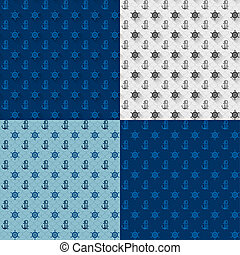 Seamless patterns set, anchors and steering wheel