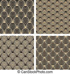 Seamless patterns set. Vector art.