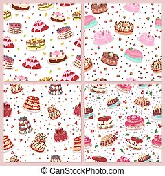 Seamless Patterns Set with Cakes. Confectionery.