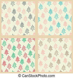Seamless patterns set with Christmas trees