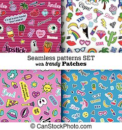 Seamless patterns set with fashion patch badges. Pop art. Stickers, pins, patches in cartoon 80s-90s comic style. Trendy.