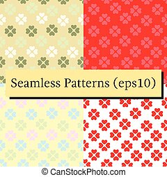 Seamless patterns set with flower of hearts. Background of hearts on Valentine Day. Good for textiles, interior design, for book design, website background.