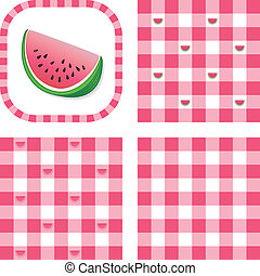 Watermelon in frame, gingham check seamless background patterns. EPS includes 3 pattern swatches that will seamlessly fill any shape.