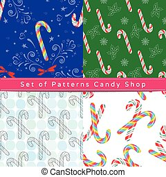 Seamless patterns with candy cane