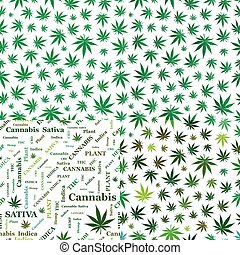 Seamless patterns with cannabis leaves