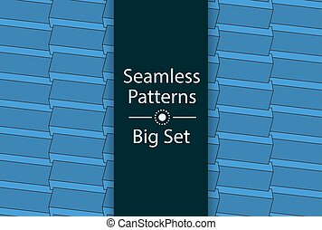 Seamless Patterns with color 3D rectangles, Big Set