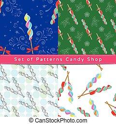 Seamless patterns with corkscrew lollipop