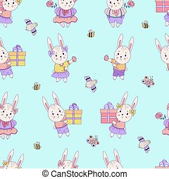 Seamless patterns with cute animals. Easter hares - boy and girl with gifts and Easter eggs on a blue background with insect and birds. Vector. For design, decora, printing, packaging and wallpaper