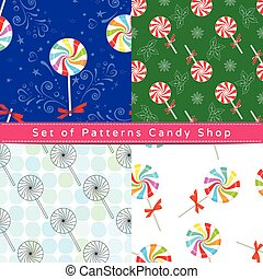 Seamless patterns with peppermint candy
