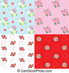 Seamless patterns with rose and hea
