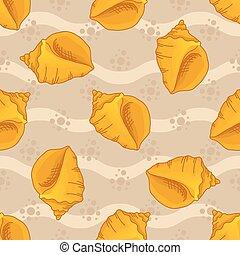Seamless patterns with seashells