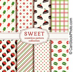 Seamless patterns with sweets. Vector set.