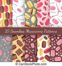 Seamless patterns with tasty macaroons, Eiffel Tower, Paris, bike and dots