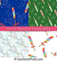 Seamless patterns with twist lollipop