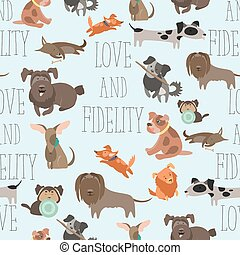 Vector seamless pattren funny Mixed Breed dogs