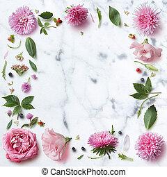 seamless, pauta papel pintado, de, rosa florece