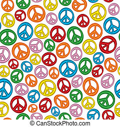 A seamless pattern of peace signs on a plain white background.