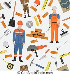 seamless, pedreiro, pedreiro, set., tijolo, equipment., ocupação, padrão, profissão, ferramentas