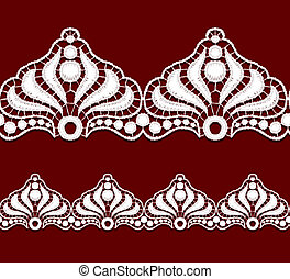 Seamless penwork lace border. Realistic vector illustration.