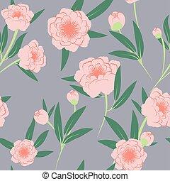 seamless peony pattern rose Quartz