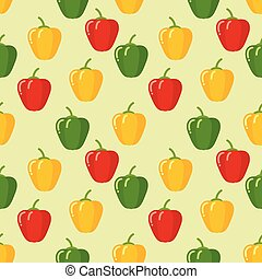 Seamless peppers pattern on green background