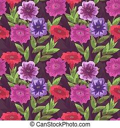 Seamless petunias pattern - Seamless pattern with decorative...