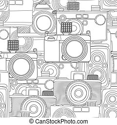 Seamless photography, vintage camera pattern in black and white