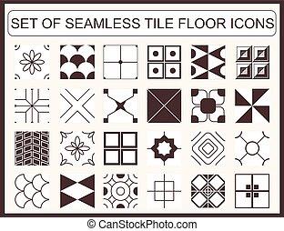 seamless, piastrella, set, pavimento, icone