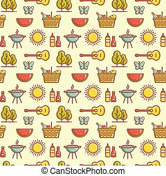 Seamless picnic pattern. Summer outdoor recreation. Vector background