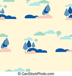 Seamless picture, background. Nature, trees and shrubs. In minimalist style Cartoon flat Vector