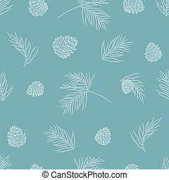 Seamless pine tree branch pattern on paper texture. Christmas background