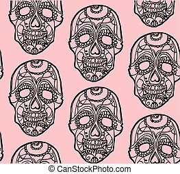 Seamless pink and black background with skullsSeamless pink and black background with skulls