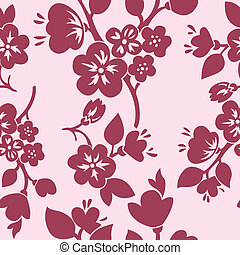 Seamless pink background of flowering branches