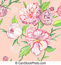 Vector colored seamless background with gentle pink and white peony flowers