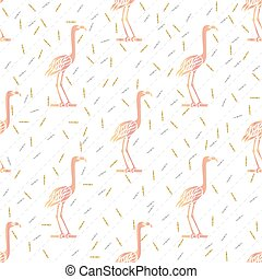 seamless pink bird with silver and gold glitter pattern background