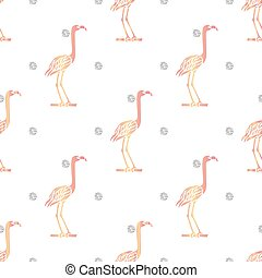 seamless pink bird with silver dot glitter pattern background