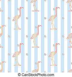 seamless pink bird with silver dot glitter pattern on blue stripe background