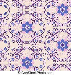 Seamless pink-blue floral pattern