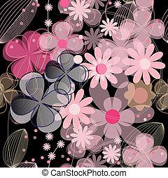 Seamless pink flower background vector