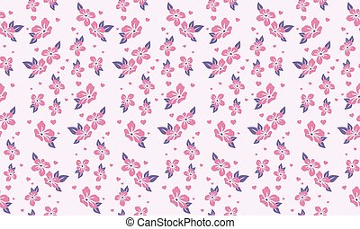 Seamless pink flower pattern background for valentine, with leaf and flower decor.