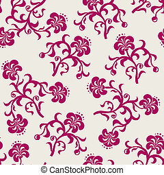 Seamless pink flowers background. Vector illustration.