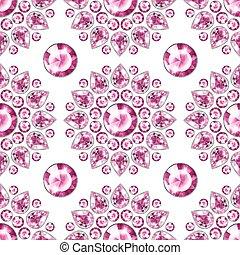 Seamless pink gemstones background on white. Jewels pattern