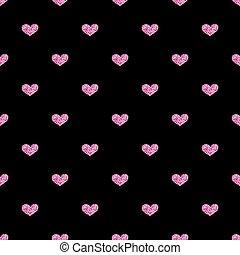 SEAMLESS PINK HEART GLITTER ON BLACK BACKGROUND